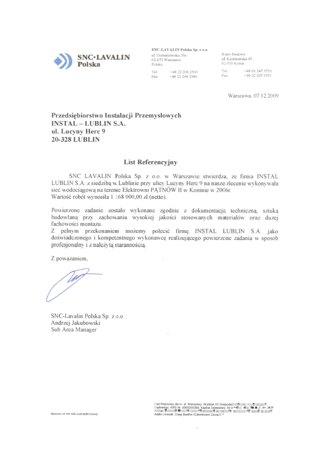 SNC LAVALIN Polska Sp. zo.o.