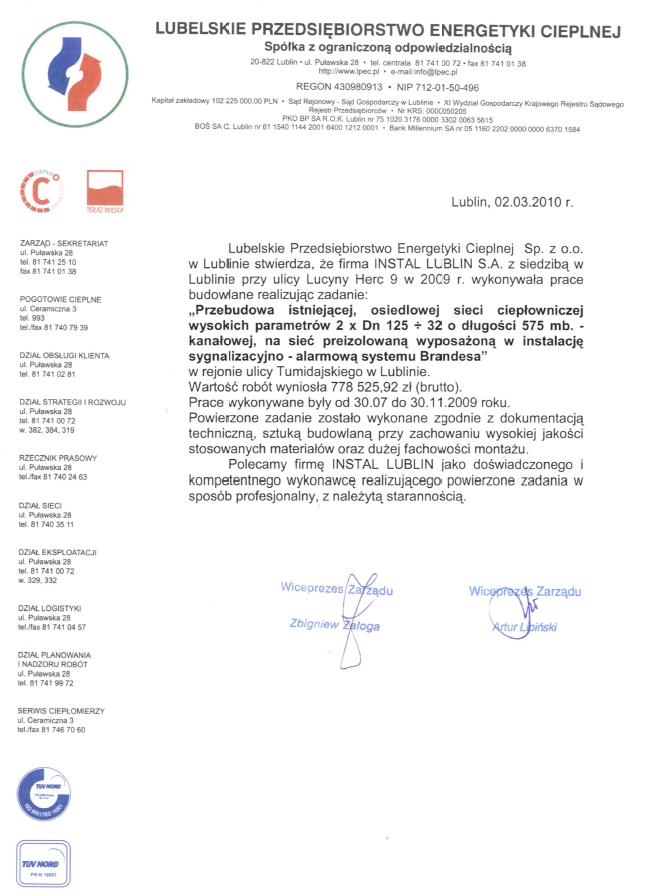 Lubelskie Przedsiębiorstwo Energetyki Cieplnej Sp. zo.o.