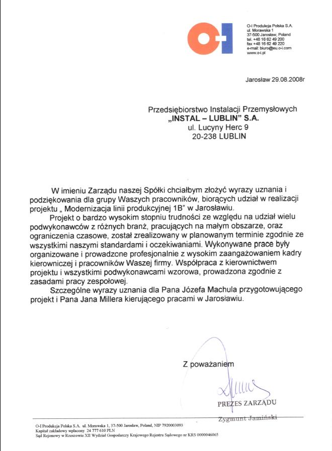 O-I Produkcja Polska S.A