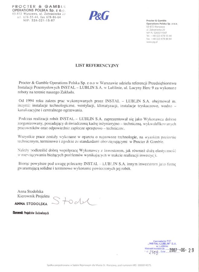 Procter&Gamble Operations Polska Sp. zo.o.